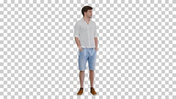 Casual young man looking to the side and, Alpha Channel