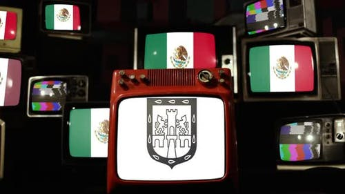 Flag Of Mexico City and Flags of Mexico on Retro TVs.