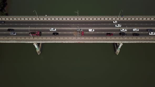 Thumbnail for Drone's Eye View Aerial View of Bridge From Top with Copy Space