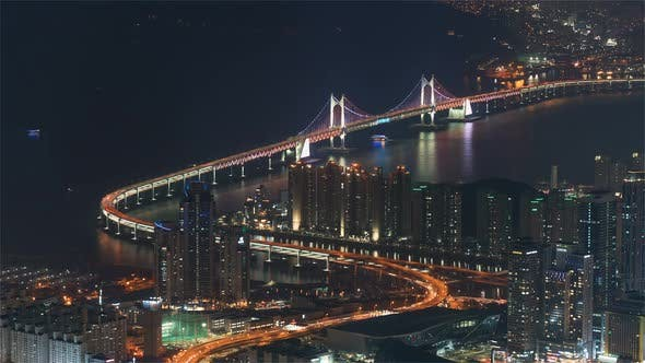Busan, Korea, Timelapse  - The Gwangandaegyo or Diamond Bridge in Seoul at Night