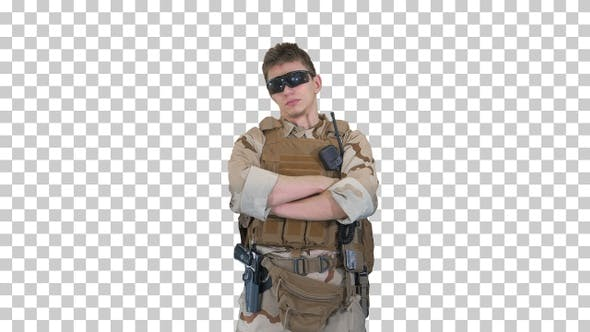 Thumbnail for US marine ranger with folded arms, Alpha Channel