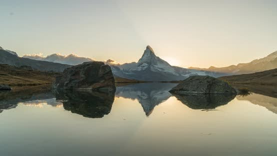 Thumbnail for Timelapse Evening View of Stellisee Lake with Matterhorn. Exotic Autumn Scene of Swiss Alps