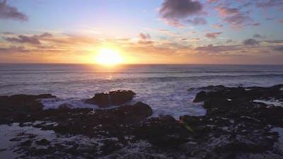 Peaceful Sunset over Ocean Coast