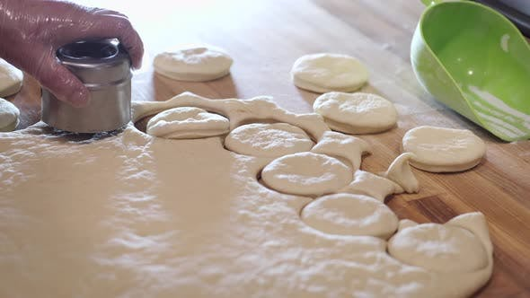 Thumbnail for The Chef Is Cutting the Donut Pastry Into Round Shapes.