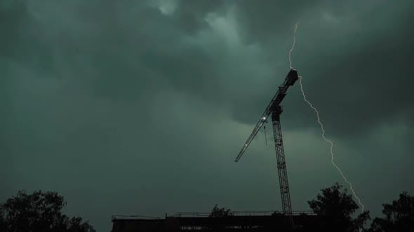 Lightning Strikes Several Times in One Place, Construction Crane, Slow Motion