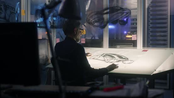 Thumbnail for Man Drawing Concept Art for Car Design