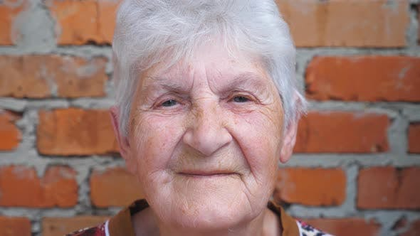 Thumbnail for Portrait of Happy Elderly Woman with Gray Hair Looking Into Camera and Smiling. Old Lady with