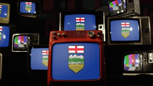 Flag of the province of Alberta, Canada, and Retro TVs.