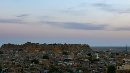 Thumbnail for Jaisalmer cityscape, time lapse. The majestic fort dominating the desert city, Rajasthan, India