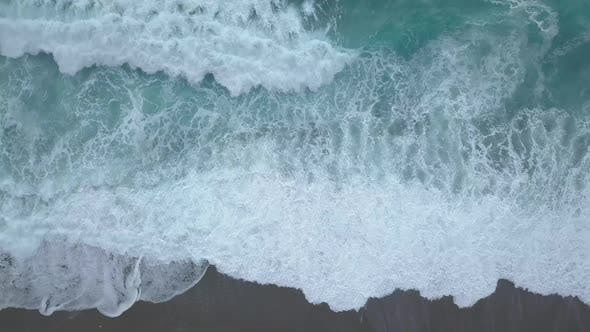 Thumbnail for Top View Sea Waves Break on Empty Beach. Clean Sea From Bird's Eye View, Ocean Waves Reaching Shore