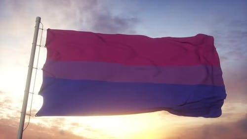 Bisexual Pride Flag Waving in the Wind Sky and Sun Background