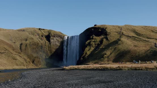 Thumbnail for Skogafoss Waterfall in the South of Iceland. High Water Cascades Wide Shot