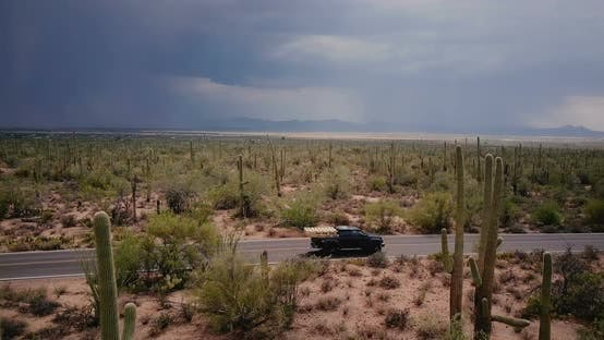 Thumbnail for Drone Slowly Flying Above Epic Cactus Desert Field, Black Pickup Car Drives By Along the Road