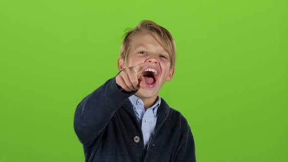 Thumbnail for Kid Is Making Grimaces. Green Screen