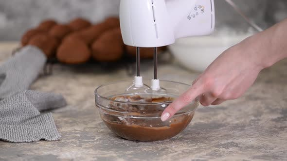 Thumbnail for Professional Baker Whipped Chocolate Cream for Cake or Pastries in a Bowl