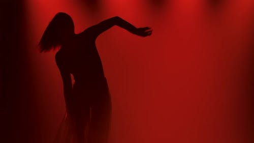 Flexible Woman Dancing in Modern Contemporary Choreography Style. A Female Dancer Is Silhouetted