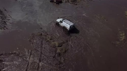 Off Road Free Fest. SUVs Drive the Swamp. Cars Skid in the Mud.