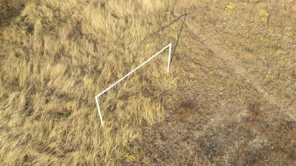 Thumbnail for Construction of soccer goal in the field aerial 4K video