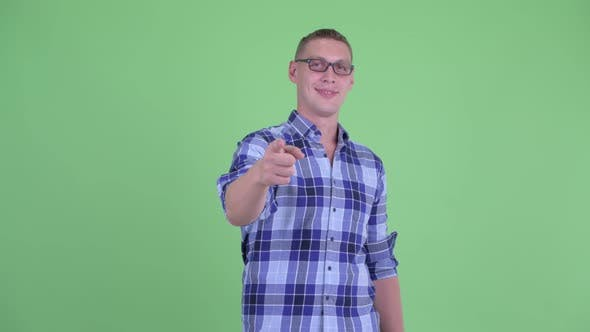 Cover Image for Happy Young Hipster Man Pointing at Camera