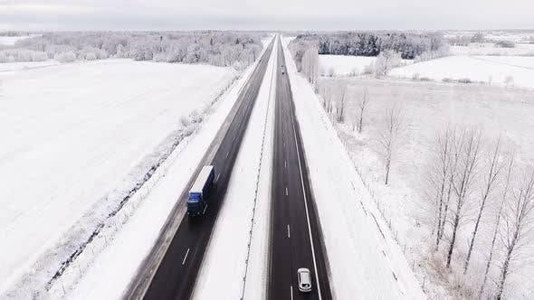 Thumbnail for Aerial Highway Panorama in Winter Season