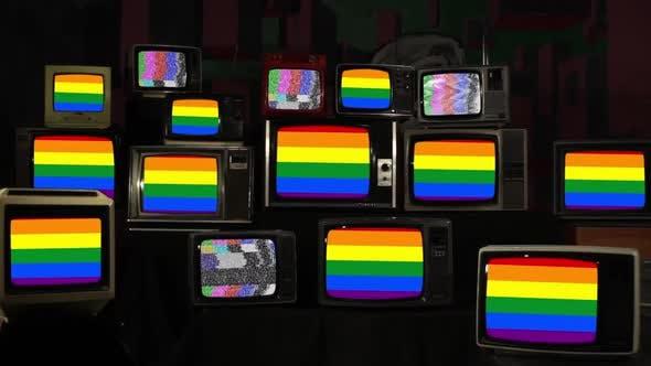 Thumbnail for Gay Pride Flag and Retro TV Sets.