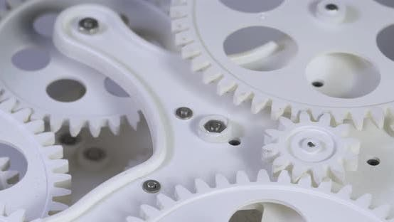 Thumbnail for Old White Color Gears Mechanism Rotation 11