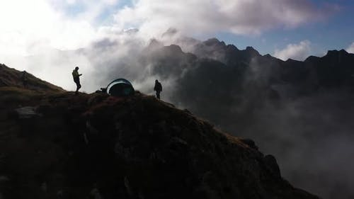 Tent Hikers On Top Of The Mountains