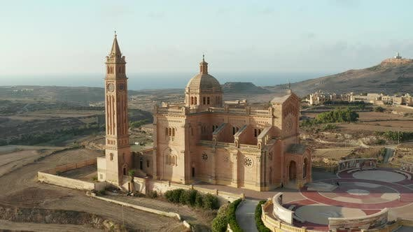 Basilica of the Blessed Virgin Of Ta Pinu on Gozo Island, Malta, Aerial Perspective