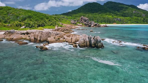 Thumbnail for Aerial View of Unique Coastline with Nature Granite Boulders on Remote Paradise Like Beach Hidden