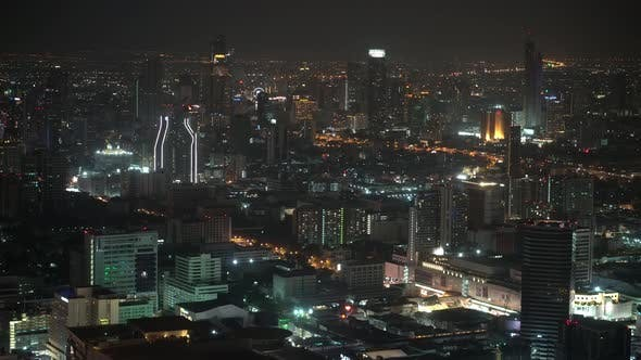 Thumbnail for city view of the business center at night. skyscrapers