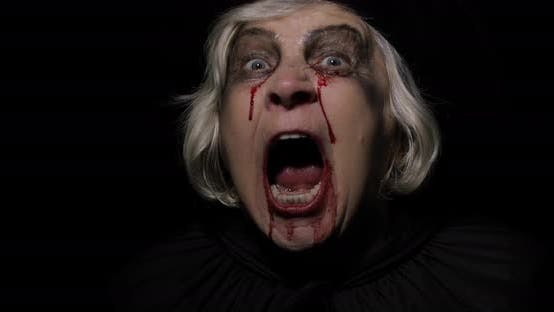 Thumbnail for Old Witch Halloween Makeup Elderly Woman Portrait with Blood on Her Face