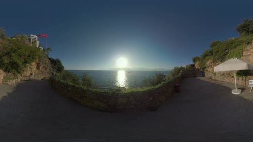 Thumbnail for 360 VR Picturesque Seascape with Sun Viewed From the Coast in Antalya, Turkey