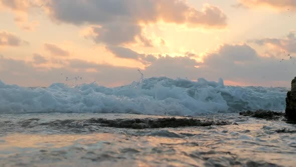 Sea Waves During Beautiful Sunset In Slow Motion
