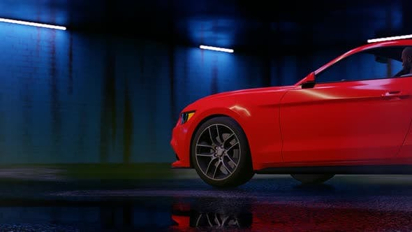 Thumbnail for Luxury Sports Red Car Drifting at Night Parking Garage