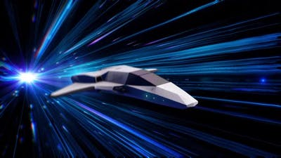 Beautiful abstract animation of spaceship in Hyperspace