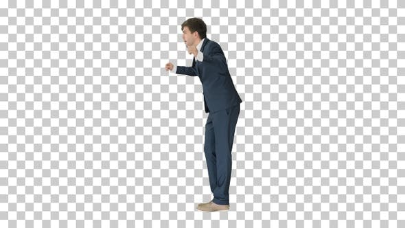 Thumbnail for Arrogant businessman in a suit dancing, Alpha Channel