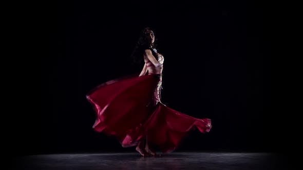 Thumbnail for Girl Dancing in Dress . Black Background. Slow Motion