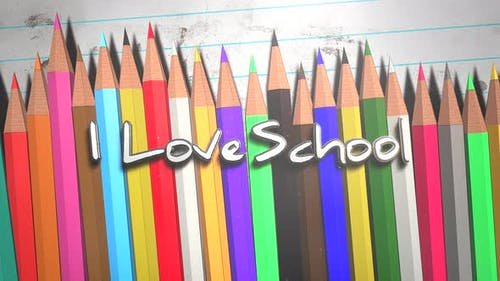 Animated closeup text I love School and closeup colorful pencil on paper, school background