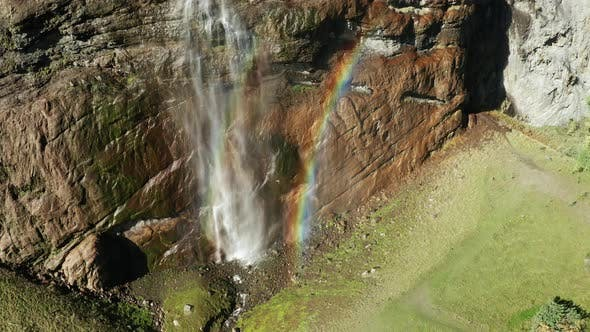 Thumbnail for Staubbach Waterfall in Lauterbrunnen, Berner Oberland, Switzerland. Aerial View.