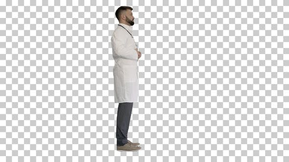 Doctor with a beard standing, Alpha Channel