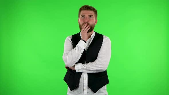 Thumbnail for Man Thinks About Something, and Then an Idea Comes To Him. Green Screen