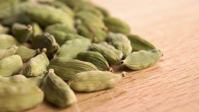 Dry cardamom seeds. Macro