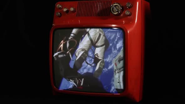 Thumbnail for First American Spacewalk on a Vintage Television.