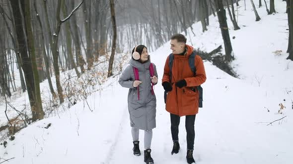 Thumbnail for Happy Couple Walking in Forest