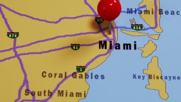 Thumbnail for Pushpin Pointing At Miami USA 02