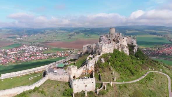 Thumbnail for Aerial Drone View on Spis Castle. Slovakia. Ancient Castle, Spissky Hrad