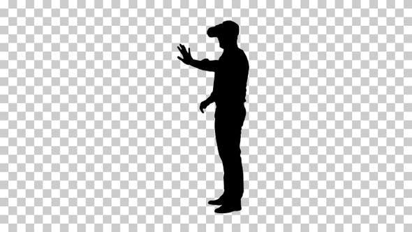 Silhouette Businessman walking, Alpha Channel