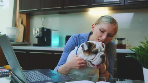 Thumbnail for Cheerful Young Woman with Bulldog Puppy Sitting in Front of Laptop in the Kitchen