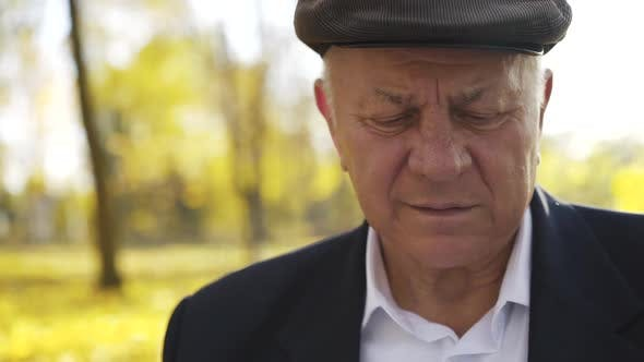 Portrait of a Senior is Surprised and Smiling While Watching Photo Album in Park