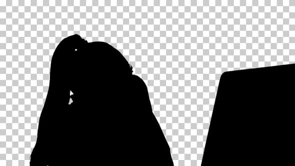 Thumbnail for Silhouette woman at her computer, Alpha Channel